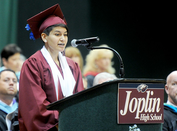 Anum Ahmed offers advice to her Joplin High School classmates during commencement ceremonies on Sunday at Leggett & Platt.<br /> Globe | Laurie Sisk