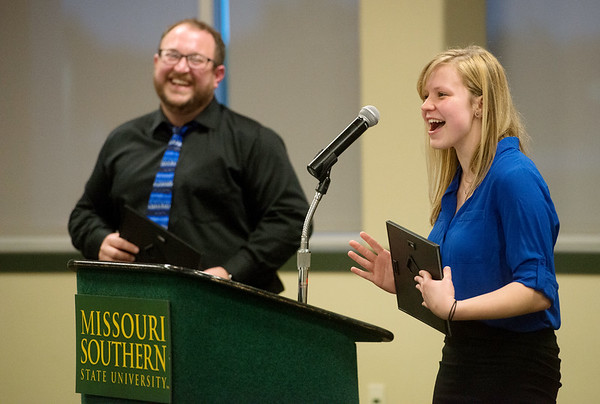 Globe/Roger Nomer<br /> Kiersten York, Joplin, talks about her teacher Christopher Young during Monday's All-Area Academic Excellence Team Banquet at Missouri Southern.