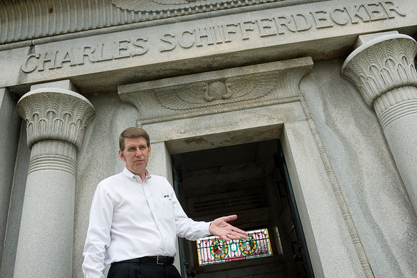 Globe/Roger Nomer<br /> Tom Hamsher, general manager, talks about the Schifferdecker mausoleum at Mount Hope Cemetery on Friday.