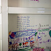 Globe/Roger Nomer<br /> Numerous people, from family to visiting tornado voluteers, have decorated the inside of Tamara Comer's storm shelter with blessings and pictures. Comer dreads going into the shelter, but draws comfort from these messages of love on the walls.