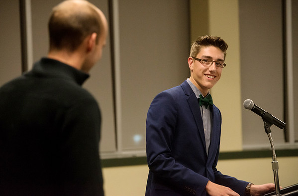 Globe/Roger Nomer<br /> Noah Wells, Thomas Jefferson, talks about his teacher Chris Nash during Monday's All-Area Academic Excellence Team Banquet at Missouri Southern.