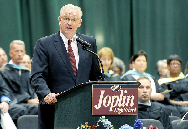 Missouri Gov. Jay Nixon speaks about the perserverance and resilience of the Joplin High School Class of 2016 during commencement ceremonies on Sunday at Leggett & Platt.<br /> Globe | Laurie Sisk