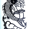 "Katie Watson's cut paper piece, ""Koi"" hangs in ArtCentral's Hyde House on Tuesday.<br /> Globe 