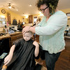 Stylist Brandy Duley gives five-year-ol Nolan Howard a haircut at Cut Loose Salon. Howard has been coming to the salon since it was rebuilt.<br /> Globe | Laurie Sisk