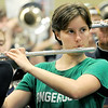 Katie Gradwohl rehearses with the Joplin High School Band on Tuesday at JHS for an upcoming appearance in the Memorial Day Parade in Washington D.C. on Monday.<br /> Globe | Laurie Sisk