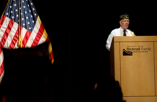 Globe/Roger Nomer<br /> Commander Don Morey gives opening remarks during the Memorial Day ceremony at the Bicknell Center for the Arts on Monday.