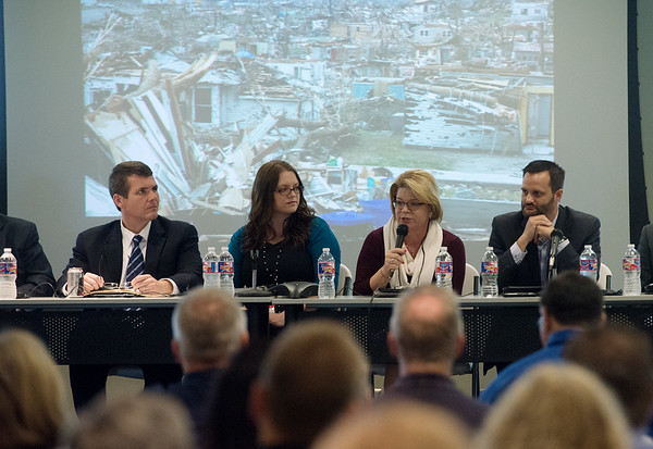 Globe/Roger Nomer<br /> (from left) Walt Maddox, mayor of Tuscaloosa, Ala., Miranda Schuler, councilwoman of Minot, N.D., Sandi Fowler, assistant city manager of Cedar Rapids, Iowa, and Sam Anselm, city manager of Joplin, talk during Thursday's Joplin Disaster Recovery Summit at Missouri Southern.