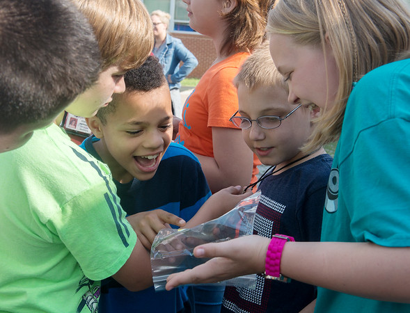 Globe/Roger Nomer<br /> (from left) Jefferson Elementary fifth graders Brayden Bragg, Shytawn Parks, Alex Short and Haleigh Hunt look at their handprints and photos from kindergarten from the time capsule.