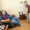 Meals on Wheels volunteer Margaret Merriweather delivers a hot lunch to Randy Spriggs at his Columbus home on Wednesday.<br /> Globe | Laurie Sisk