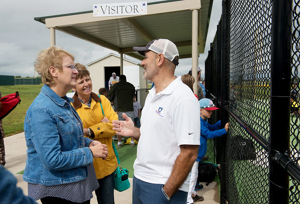 Globe/Roger Nomer<br /> Mark Norton talks with visitors Canda Woods, left, and Joni Jones of Chillicothe. The women read about the Will Norton Miracle Field and visited during a trip through Joplin. Will Norton's memory continues to be shared across the country five years after the tornado. As Woods left, she gave Norton a donation for the field and told him that she couldn't wait to meet Will in heaven.