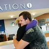 Globe/Roger Nomer<br /> Lage Grigsby and Tracy Dye hug on Wednesday evening at Freeman Hospital.