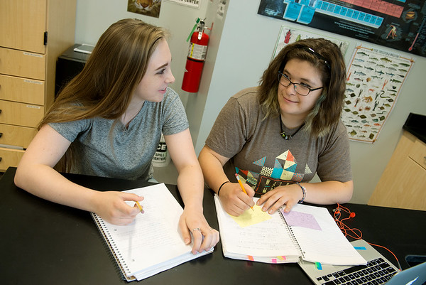 Globe/Roger Nomer<br /> Amy Koch, left, and Chandler McGrane talk about finals at Joplin High School on Monday.