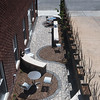 Globe/Roger Nomer<br /> The patio of the remodeled building features several recycled parts.