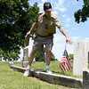Guide xx xx retells the story of Charles B. Wood during a walking tour of World War I soldiers on Memorial Day at the Carterville Cemetery. Wood made the ultimate sacrifice during the war.<br /> Globe | Laurie Sisk