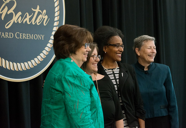 Globe/Roger Nomer<br /> Annie Baxter nominees (from left) Barbara Hogelin, Stephanie Theis, Melodee Colbert-Kean and Eileen Nichols pose for photos following Wednesday's ceremony at Missouri Southern.