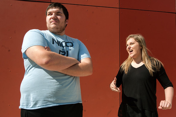 "From the left: Joplin High School thespians Dakotah Hutchins (Oberon) and Michaela West (Titania) rehearse their outdoor production of  ""A Midsummer Night's Dream"" on Tuesday at JHS. The play opens Friday at the outdoor theatre at JHS.<br /> Globe 