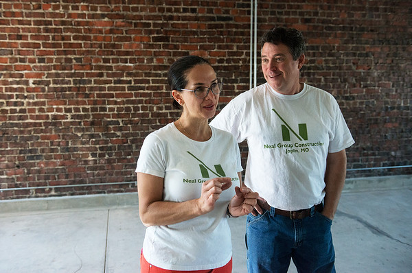 Globe/Roger Nomer<br /> Carolina and Jeff Neal talk about the remodel at the 200 Block Commons on Friday.