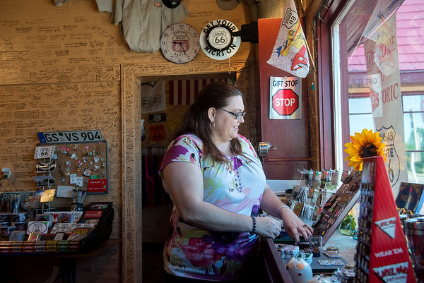 Globe/Roger Nomer<br /> Mary Billington works in the Route 66 Visitors Center in Baxter Springs on Wednesday.