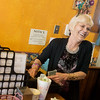 Globe/Roger Nomer<br /> Helen Meistad, manager, laughs with a customer on Wednesday at Mary Lee's Cafe.