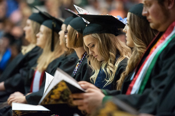 Graduates reflect on their futures during commencement speeches on Saturday at Missouri Southern.<br /> Globe | Laurie Sisk