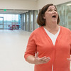 Globe/Roger Nomer<br /> Jacque Gage, library director, talks about her initial feeling of amazement when seeing the new Joplin Public Library. The new building was open for a media tour on Thursday morning.