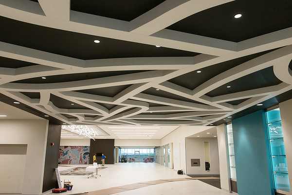 Globe/Roger Nomer<br /> The new Joplin Public Library features a unique design on the ceiling.