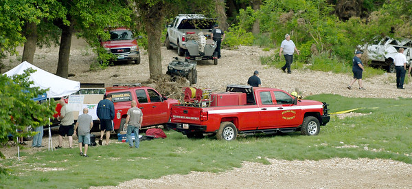 Redings Mill Fire Department rescue personnel join other area agencies in the search for 12-year-old Brooke Robinson, who was swept away in Shoal Creek on Monday.<br /> Globe  Laurie Sisk