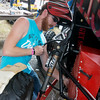 Globe/Roger Nomer<br /> Camden Mylott, a Pittsburg State freshman, prepares to weld his team's car on Saturday during the Baja SAE Kansas event at Pittsburg State.