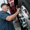 Globe/Roger Nomer<br /> Robert Cass polishes the wheel of his 379 P truck in preparation for show at the Joplin Truckers Jamboree on Friday at Joplin 44 Petro. The Jamboree continues on Saturday until 9:00 pm.