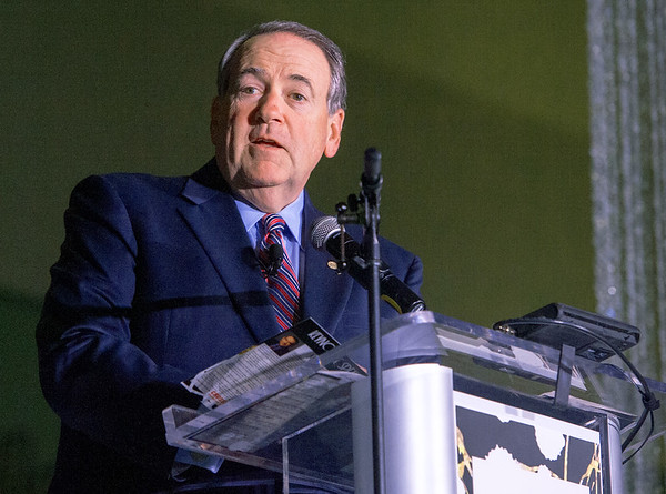 Former Arkansas Governor Mike Huckabee addresses a large crowd at the 100th Anniversary of the Joplin Area Chamber of Commerce on Thursday night at Missouri Southern's Leggett & Platt Athletic Center.<br /> Globe | Laurie SIsk