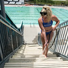 Globe/Roger Nomer<br /> Hailey Myers, pool operator at Schifferdecker, cleans the steps at the Joplin Aquatic Center on Monday.