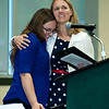 Carl Junction High School senior Jessica Dean gets a hug from her teacher, Mrs. Alford, during the All-Area Academic Excellence Team 31st Honor BAnquest on Tuesday night at Missouri Southern.<br /> Globe | Laurie Sisk