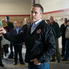 Globe/Roger Nomer<br /> Missouri Gov. Eric Greitens talks about federal and state response to flooding in Neosho during a stop on Monday at the Neosho Fire Station.