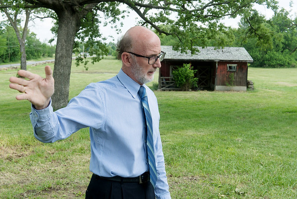Globe/Roger Nomer<br /> Brad Belk talks about the history of the Rader Farm during an interview on Thursday morning.