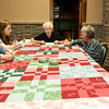 From the left: Jo Stocker, Emma Webb, 15, Marjorie Bull, Ellen Yoes and Judy Korn work on a quilt Webb is making for her parents on Thursday at the First United Methodict Church in Carthage.<br /> Globe | Laurie Sisk