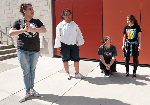 "From the left: Joplin High School thespians Zoe Musick (Peter Quince,) Nicole Burgess (Snug,) Audrey Laurialt (Robin Starvling) and Hope Bethel (Tom Snout) rehearse their outdoor production of  ""A Midsummer Night's Dream"" on Tuesday at JHS. The play opens Friday at the outdoor theatre at JHS.<br /> Globe 