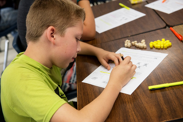 Globe/Roger Nomer<br /> Liam Connor, fifth grade, works on a math problem at Jasper Elemenatary on Tuesday.