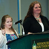 McDonald County senior Mary Smith, left, talks about the positive influence her teacher, Laurie Kinder-Lang, has had on her life as Kinder-Lang looks on during the All-Area Academic Excellence Team 31st Honor Banquet on Tuesday night at Missouri Southern.<br /> Globe | Laurie Sisk