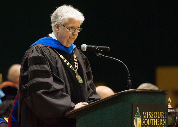 Missouri Southern President Alan Marble addresses the graduating class during commencement ceremonies on Saturday at Missouri Southern.<br /> Globe | Laurie Sisk