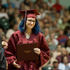 Globe/Roger Nomer<br /> Hunter Marie receives her diploma on Sunday during Joplin High graduation.