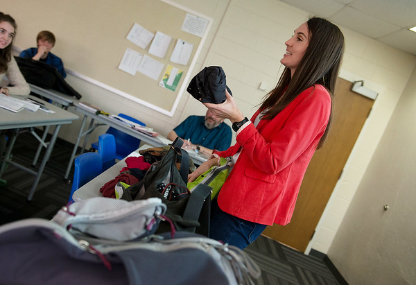 Kisa Clark talks about packing strategy with her Global Journalism class on March 8 at Missouri Southern.<br /> Globe | Roger Nomer