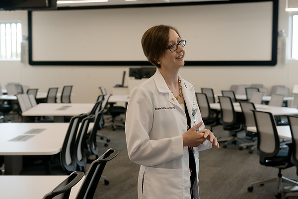 Angela Pierce, OMS II, phase director, talks about the upcoming year for second-year students during an interview on Tuesday at Kansas City University of Medicine and Biosciences Joplin.<br /> Globe | Roger Nomer