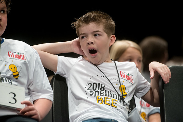 Lane Carnes, a fourth grader from Avilla, waits his turn to spell during Monday's 2018 Joplin Globe Spelling Bee at Thomas Jefferson Independent Day School.<br /> Globe | Roger Nomer