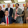 Kansas Gov. Jeff Colyer jokes with Pittsburg State President Steve Scott during a visit to Pittsburg State on Tuesday at the Axe Library.<br /> Globe | Roger Nomer