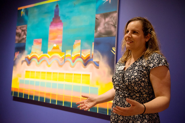 """Sharona Eliassaf talks about her work, """"Star to Dust, Dust to Stars,"""" in the exhbit """"The Beyond: Georgia O'Keeffe & Contemporary Art"""" at Crystal Bridges Museum of American Art on Thursday.<br /> Globe   Roger Nomer"""