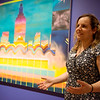 """Sharona Eliassaf talks about her work, """"Star to Dust, Dust to Stars,"""" in the exhbit """"The Beyond: Georgia O'Keeffe & Contemporary Art"""" at Crystal Bridges Museum of American Art on Thursday.<br /> Globe 