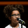 Elainah Omwango, a fourth grader from Royal Heights Elementary in Joplin, thinks before spelling a word during Monday's 2018 Joplin Globe Spelling Bee at Thomas Jefferson Independent Day School.<br /> Globe   Roger Nomer