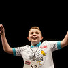 Zachery Webb, a fifth grader from Seneca Intermediate, celebrates after spelling the winning word during Monday's 2018 Joplin Globe Spelling Bee at Thomas Jefferson Independent Day School.<br /> Globe | Roger Nomer