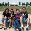 (from left) Lisa Leverenz, Basia Karnes-Leverenz, 11, Cindi and Isaac Leverenz visit Mercy Park on Sunday.<br /> Globe | Roger Nomer