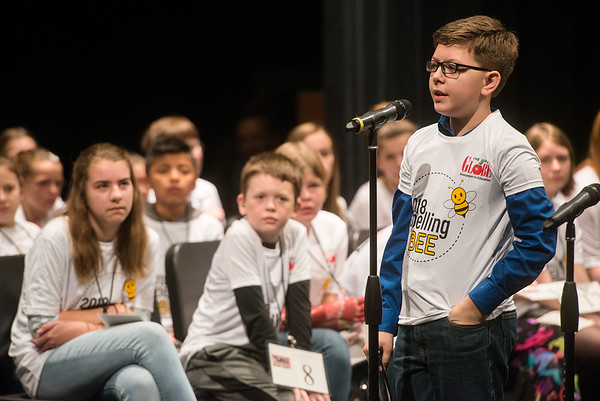 Weston Strickland, a fifth grader from Granby Junior High School, spells a word during Monday's 2018 Joplin Globe Spelling Bee at Thomas Jefferson Independent Day School.<br /> Globe | Roger Nomer